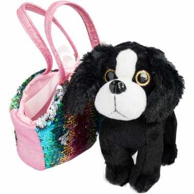 Groothandel speelgoed zwart/wit hondje met pailletten tas kopen