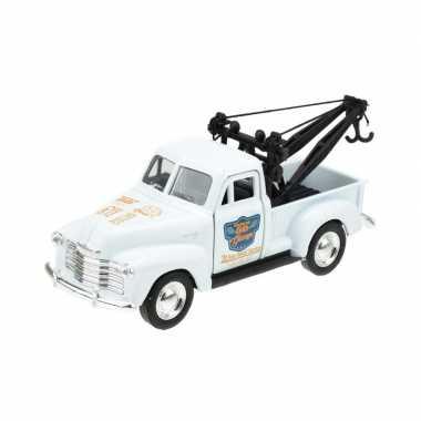 Groothandel speelgoedauto chevrolet 1953 stepside takelwagen wit 1:34