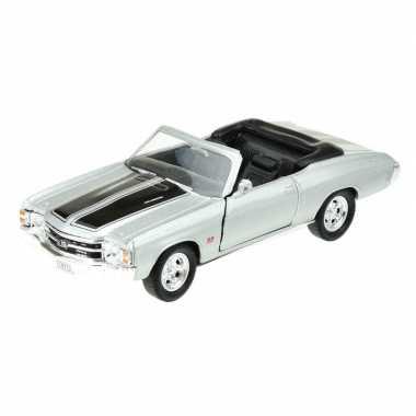 Groothandel speelgoedauto chevrolet 1971 chevelle zilver grijs 1:34 k
