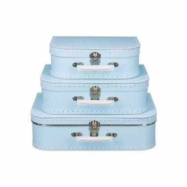 Groothandel speelgoedkoffertje licht blauw polka dot 25 cm kopen