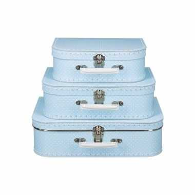 Groothandel speelgoedkoffertje licht blauw polka dot 30 cm