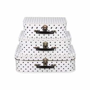 Groothandel speelgoedkoffertje wit polka dot 35 cm