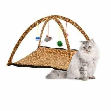 Groothandel speelkleed voor katten/kittens luipaardprint 55 cm speelg