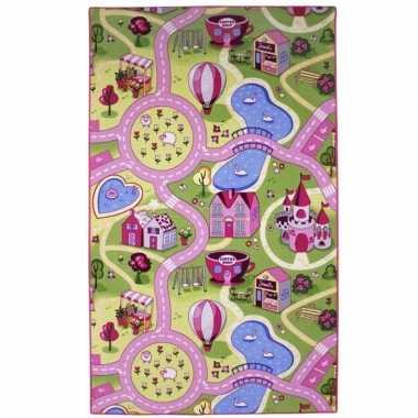 Groothandel speelkleed voor meiden roze dorpje 100 x 165 cm speelgoed