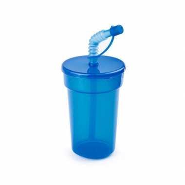 Groothandel sportbeker met rietje blauw 400 ml speelgoed kopen