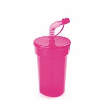 Groothandel sportbeker met rietje roze 400 ml speelgoed kopen