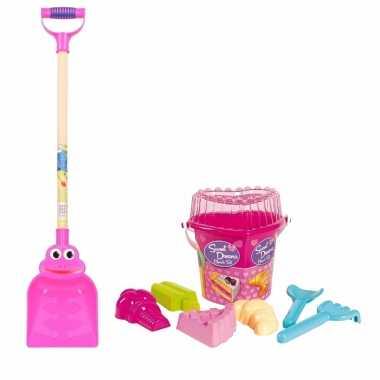 Groothandel strand/zand emmer met vormpjes en roze zand schep van 75 cm speelgoed kopen