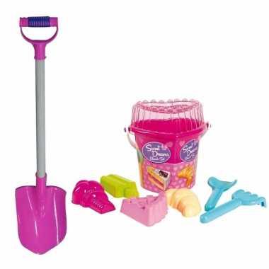 Groothandel strand/zand emmer met vormpjes en roze zand schep van 81 cm speelgoed kopen