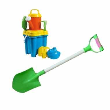 Groothandel strand/zandbak speelgoed emmer met vormpjes en kleine schepjes + grote zandschep van 55 cm kopen