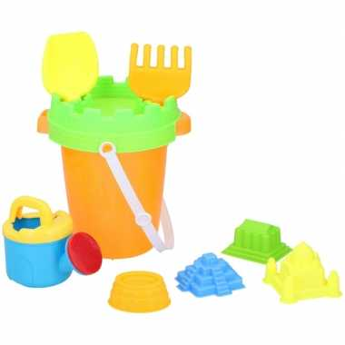 Groothandel strand/zandbak speelset emmer met vormpjes en schepjes sp