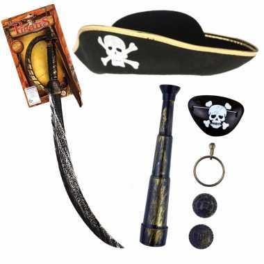 Groothandel verkleedset kinderen - piraten set - hoed met accessoires speelgoed kopen