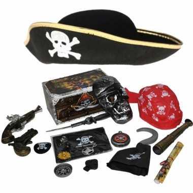 Groothandel verkleedset kinderen - piraten set - hoed, wapens en accessoires speelgoed kopen