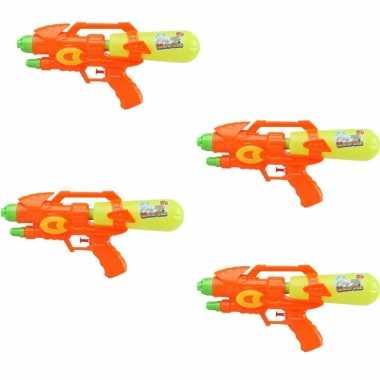 Groothandel voordeelset van 4x stuks watergeweer/pistool oranje/geel 34 cm speelgoed kopen