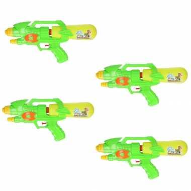 Groothandel voordeelset van 6x stuks watergeweer groen/geel 34 cm speelgoed kopen