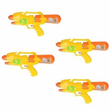 Groothandel voordeelset van 6x stuks watergeweer/pistool oranje/geel 34 cm speelgoed kopen