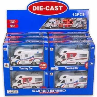 Groothandel wit/rode speelgoed auto camper voor kinderen 17 cm kopen