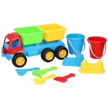 Groothandel zandbak speelgoed kiepauto dubbele oplegger 35 cm kopen