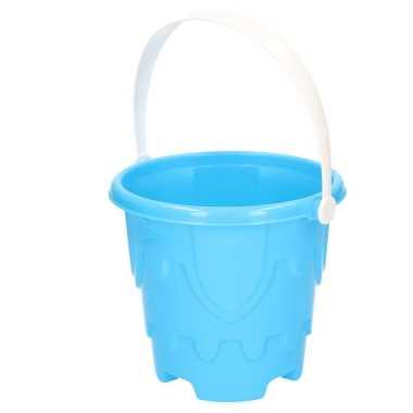 Groothandel zandkasteel emmer/strandemmertje blauw 18 x 16 cm speelgoed kopen