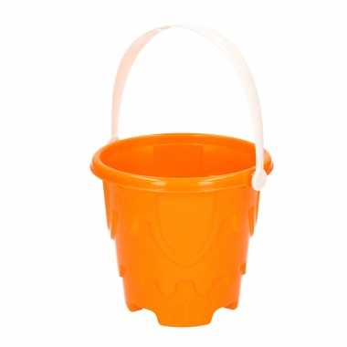 Groothandel zandkasteel emmer/strandemmertje oranje 18 x 16 cm speelgoed kopen