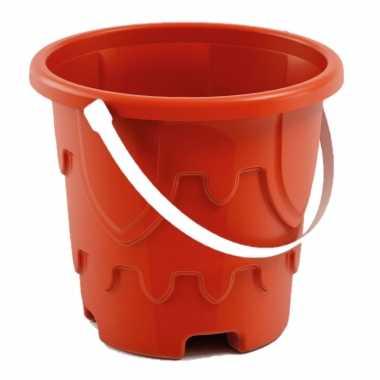 Groothandel zandkasteel emmer/strandemmertje rood 18 x 16 cm speelgoed kopen