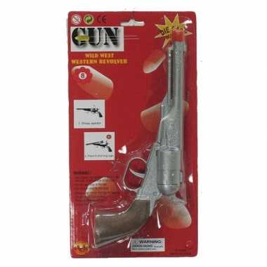 Groothandel zilveren cowboy pistool met 8 schoten speelgoed kopen