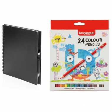 Groothandel zwart schetsboek/tekenboek met 24 kleurpotloden speelgoed kopen