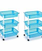 Groothandel 2x stuks opberg trolley roltafel organizer met 3 manden 40 x 30 x 61 5 cm wit lichtblauw speelgoed