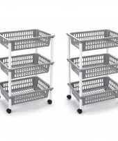 Groothandel 2x stuks opberg trolley roltafel organizer met 3 manden 40 x 30 x 61 5 cm wit lichtgrijs speelgoed
