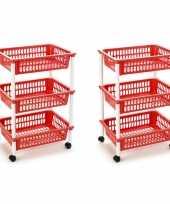 Groothandel 2x stuks opberg trolley roltafel organizer met 3 manden 40 x 30 x 61 5 cm wit rood speelgoed