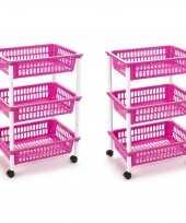 Groothandel 2x stuks opberg trolley roltafel organizer met 3 manden 40 x 30 x 61 5 cm wit roze speelgoed