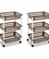 Groothandel 2x stuks opberg trolley roltafel organizer met 3 manden 40 x 30 x 61 5 cm wit taupe speelgoed