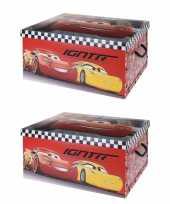 Groothandel 2x stuks opbergbox opbergdoos cars rood 49 x 39 x 24 cm speelgoed