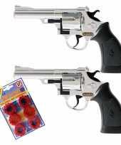 Groothandel 2x stuks plaffertjes speelgoed pistolen revolvers met 12 schoten magazijn