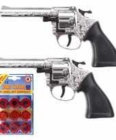 Groothandel 2x stuks plaffertjes speelgoed pistool revolver met 8 schoten magazijn