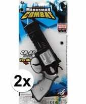 Groothandel 2x stuks speelgoed pistolen combat politie 35 cm