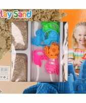 Groothandel 4x speelzand magisch zand 250 gram bruin met 8 vormpjes speelgoed