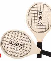 Groothandel actief speelgoed tennis beachball setje houtkleurig met tennisracketmotief 10223112