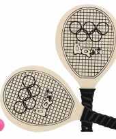 Groothandel actief speelgoed tennis beachball setje houtkleurig met tennisracketmotief