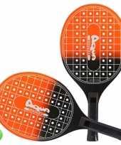 Groothandel actief speelgoed tennis beachball setje oranje zwart met tennisracketmotief