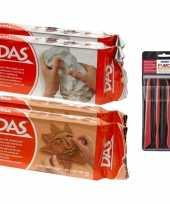 Groothandel boetseer klei pakken terra en wit met boetseergereedschap 4 delig speelgoed 10243531