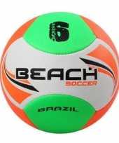 Groothandel buitenspeelgoed beachvolley voetbal wit oranje groen 22 cm maat 5 voor kinderen volwassenen