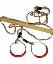 Groothandel buitenspeelgoed speeltoestel trapeze en ringen rood 16 x 21 cm