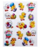 Groothandel decoratie stickers paaskuiken 13 stuks speelgoed