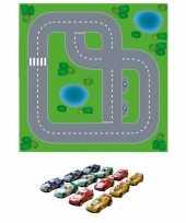 Groothandel dorpje diy speelgoed stratenplan kartonnen speelkleed 12x race autoos