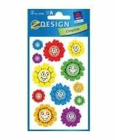 Groothandel gekleurde bloemen gezichtjes stickertjes 2 vellen speelgoed