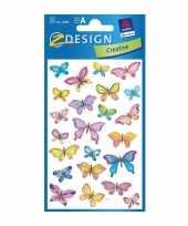 Groothandel gekleurde vlinder stickertjes 3 vellen speelgoed