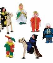 Groothandel houten kasteel figuurtjes 8 stuks speelgoed