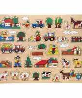 Groothandel houten noppenpuzzel boerderij thema 45 x 35 cm speelgoed