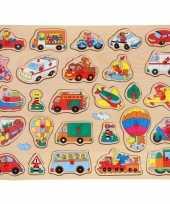 Groothandel houten noppenpuzzel voertuigen thema 45 x 35 cm speelgoed
