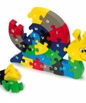 Groothandel houten puzzel slak met alfabet speelgoed